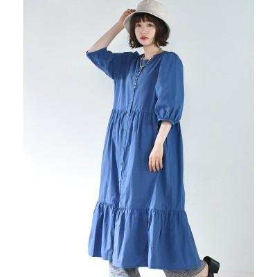 レトロガール RETRO GIRL 裾ティアードガウンOP (ブルー)