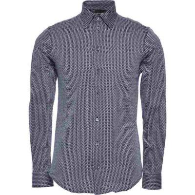 アルマーニ EMPORIO ARMANI メンズ シャツ トップス patterned shirt Dark blue