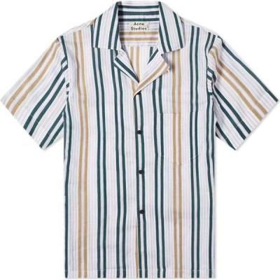 アクネ ストゥディオズ Acne Studios メンズ 半袖シャツ トップス Simon Sheer Stripe Vacation Shirt Green/Lilac