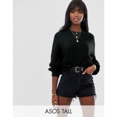 エイソス レディース ニット・セーター アウター ASOS DESIGN Tall fluffy sweater with balloon sleeve Black