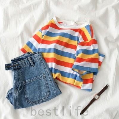 ボーダー柄ロングTシャツ夏ロゴTレディース体型カバー半袖tシャツトップス2019プリントTシャツ5分袖ボートネック薄手福袋大きいサイズ女性