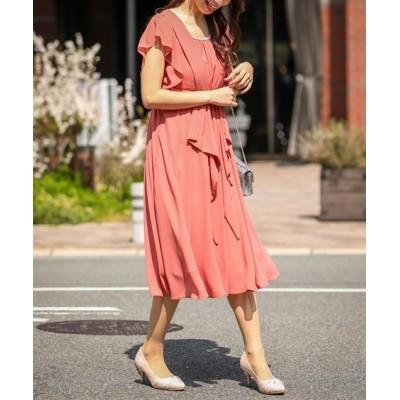 スマイルサイズ。タック&リボンが上品可愛いミモレ丈ワンピースドレス【結婚式。二次会。お呼ばれ対応】<大きいサイズ> ,スマイルランド, 【謝恩会・パーティドレス】Dress