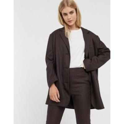 エイソス レディース ジャケット・ブルゾン アウター ASOS DESIGN extreme dad suit blazer in dark check Check