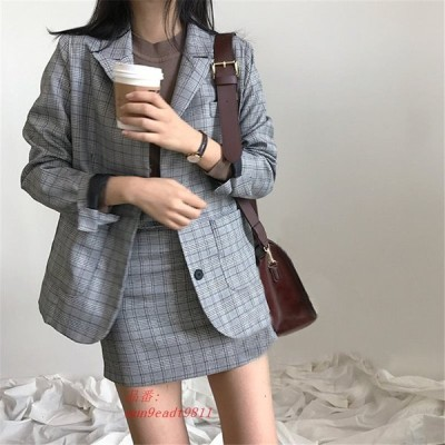CBAFU 韓国シックなブレザーコートチェック柄ミニスカートスーツ 女性 ジャケットスーツオフィスレディジャケットハイウエストスカート 2 ピースセット女性