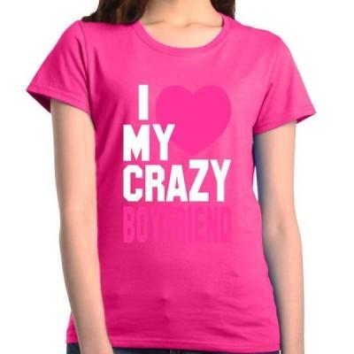 レディース 衣類 トップス Shop4Ever Women's I Love My Crazy Boyfriend Matching Couples Graphic T-Shirt Tシャツ