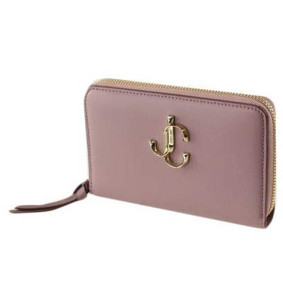 ジミーチュウ 折りたたみ財布 ラウンドファスナー・ジップ JIMMY CHOO J000124157001 MAUVE ライトピンク系 財布・小物 レディース