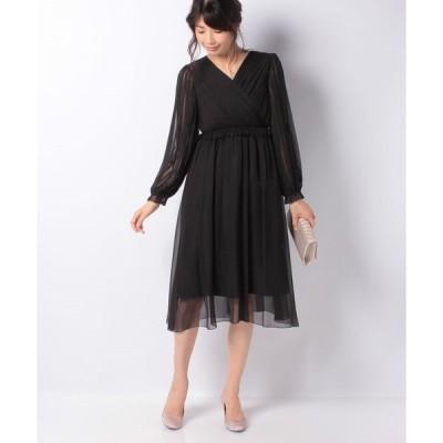 【エイミーパール(ドレス)】プリーツカシュクール長袖ドレス