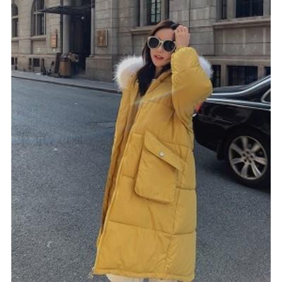 【送料無料】ダウンコート レディース ロング 綿ジャケット  大人フェミニン フード  着痩せ 大きいサイズあり