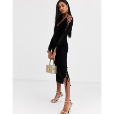 エイソス レディース ワンピース トップス ASOS DESIGN ribbed midi dress with v neck and lace up sleeve detail Black
