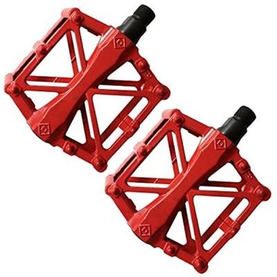 ペダル 自転車 バイク アルミ合金ペダル マウンテンバイク ロードバイク用 2個セット 滑り止め 軽量 耐久性 OD06(レッド)