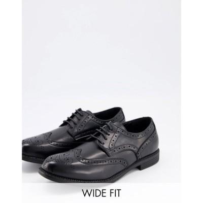 トリュフコレクション Truffle Collection メンズ 革靴・ビジネスシューズ ブローグ レースアップ wide fit formal lace up brogues in black ブラック
