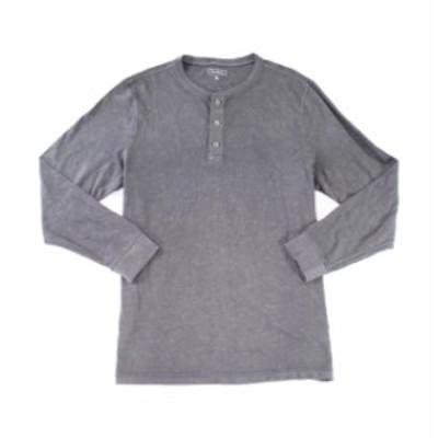 ファッション アウター Club Room Mens Shirt Gray Size Large L Long-Sleeve Stretch Henley