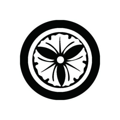 家紋シール 白紋黒地 丸に三つ銀杏 布タイプ 直径23mm 6枚セット NS23-0561W