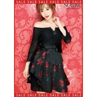 【SALE】キャバドレス キャバ ドレス 大きいサイズ ソブレ ミニ ワンピ 199105 プリーツジャカードフレアワンピース【返品交換不可】