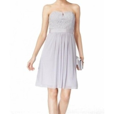 Adrianna Papell アドリアーナ パペル ファッション ドレス Adrianna Papell NEW Silver Womens Size 12 Strapless Lace Sheath Dress
