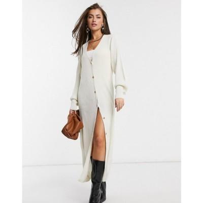 プリティーラビッシュ Pretty Lavish レディース カーディガン トップス Longline Button Knit Cardigan Dress In Cream クリーム