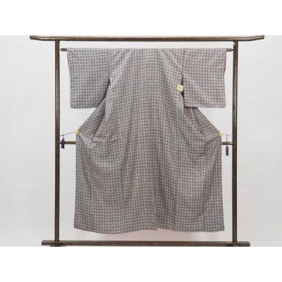 リサイクル着物 小紋 正絹網代模様袷小紋着物