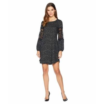 トリバル ワンピース トップス レディース Peasant Sleeve with Applique Shift Dress Black