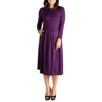 24セブンコンフォート レディース ワンピース トップス Maternity Long Sleeve Fit and Flare Midi Dress
