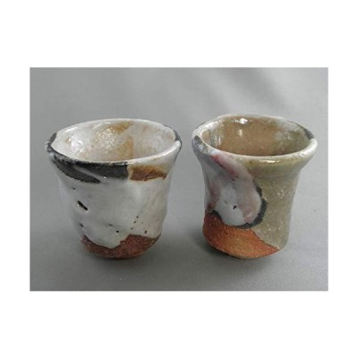ggus-3 陶芸作家 荒川明作『志野焼 長ぐいのみペア ぐいのみ おちょこセット』木箱付き こだわりのギフト、還暦