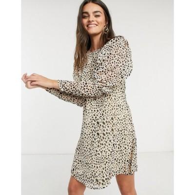 ヴィラ ミニドレス レディース Vila mini dress with puff sleeves in spot print エイソス ASOS sale