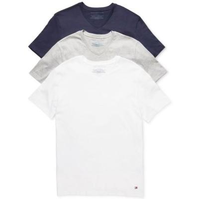 トミー ヒルフィガー メンズ Tシャツ トップス Men's Classic V Neck 3 Pack Undershirts 09TVN01