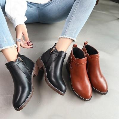 ショートブーツ レディース ヒール シューズ 靴  ローヒール エンジニアブーツ ブーティー 歩きやすい 大きいサイズ 秋冬
