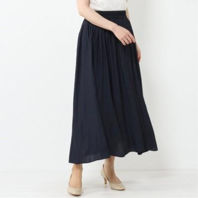 ヴィンテージサテンギャザースカート ネイビー M L LL 3L 4L 5L