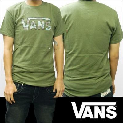 バンズ Tシャツ メンズ VANS 服  迷彩 ロゴ モスグリーン インポート ブランド ストリート サーフ スケーター スタイル
