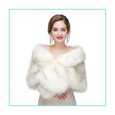 Limeng Women Evening Party Faux Fur Coat Wedding Cloak Cape Red Shawl並行輸入品