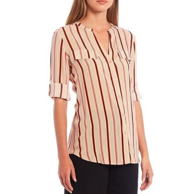 カルバンクライン レディース カットソー トップス Stripe Print Rayon Roll-Tab Sleeve Button Front Top Latte/Pink