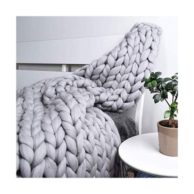 WWXX Handmade Chunky Knit Blanket Soft and Thick Giant Cable Knitting Throw Acrylic Knit Giant Yarn Blanket for Couch/Bed/Sofa/Farmhouse Bench Soft Bu