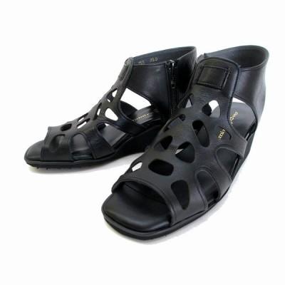 スミレ sumire 755 レディース グラディエーター ウエッジヒール パンチング 天然皮革 通勤履き リゾート靴 ブラック