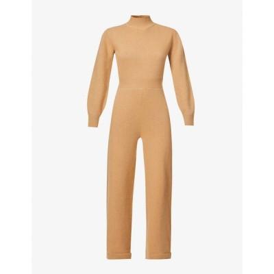 セオリー THEORY レディース オールインワン ジャンプスーツ ワンピース・ドレス Funnel-neck wool-blend jumpsuit Medium Camel Yky