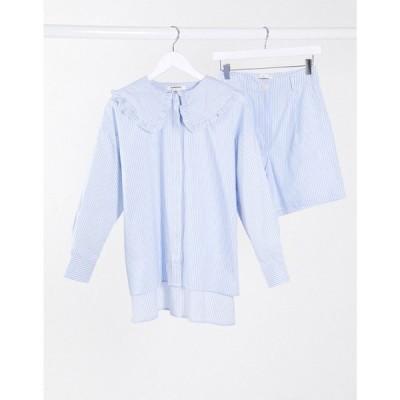 グラマラス Glamorous レディース ブラウス・シャツ トップス relaxed shirt with detailed collar in stripe co-ord