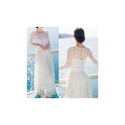 ドレス レース 大人 エレガント 結婚式 fe-0025