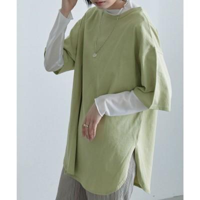エトル etoll. 2wayヘンリーネックT トップス Tシャツ 半袖 五分袖 ビッグシルエット (グリーン) (グリーン)
