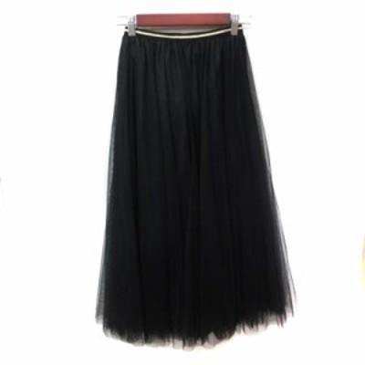 【中古】エージーバイアクアガール フレアスカート ギャザー ロング チュール M 黒 ブラック /YI レディース