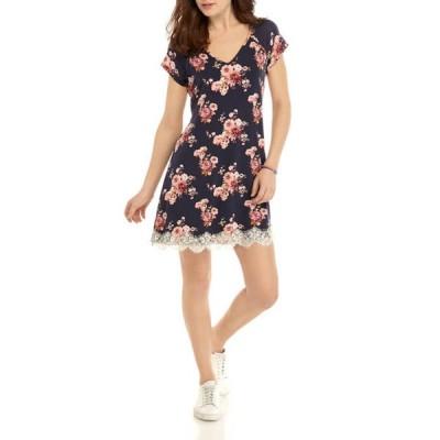 JOLT レディース ワンピース トップス Junior's Short Sleeve Lace Hem Dress