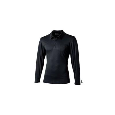 【メール便選択可】おたふく手袋 JW-604 BTデュアルメッシュ ロングスリーブ ポロシャツ ブラック Lサイズ