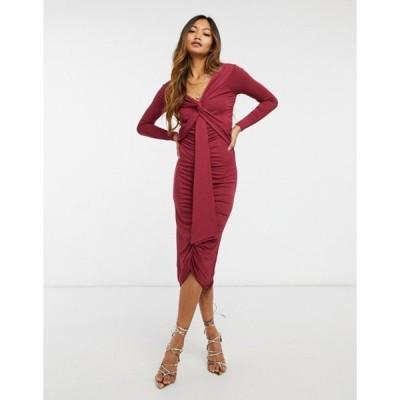 エイソス レディース ワンピース トップス ASOS DESIGN bardot long sleeve midi dress with sash detail in maroon