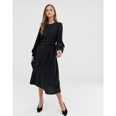 エイソス レディース ワンピース トップス ASOS DESIGN ruched waist chuck on midi dress with long sleeves