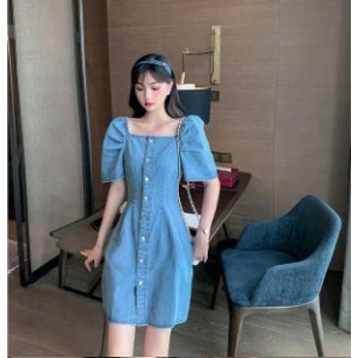 予約商品 大きいサイズのレディース  韓国ファッション 春新作  ワンピース デザインワンピ デニムワンピ ドロップショルダー ミニ 春
