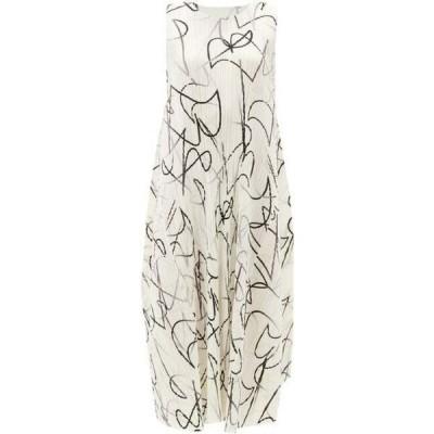 プリーツ プリーズ イッセイ ミヤケ Pleats Please Issey Miyake レディース ワンピース ミドル丈 Squiggle-print technical-pleated midi dress Ivory white
