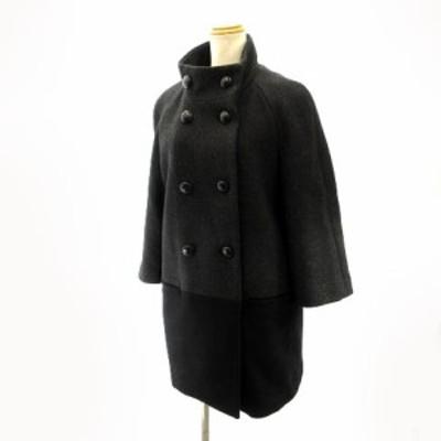 【中古】コーチ COACH Pコート ジャケット ダブルブレスト 切替 バイカラー グレー ブラック XS/TP 約S レディース