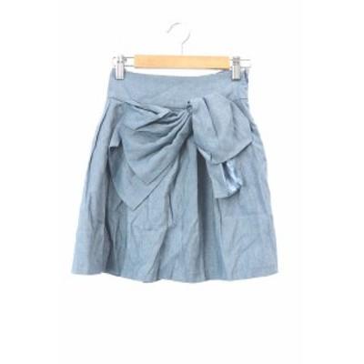 【中古】ウィルセレクション WILLSELECTION スカート ギャザー ミニ リネン混 麻混 1 青 ブルー /RT17 レディース