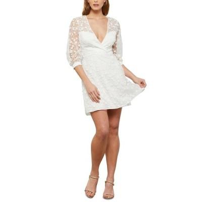 ビーシービージーマックスアズリア ワンピース トップス レディース Floral-Embroidered Mini Dress Off White