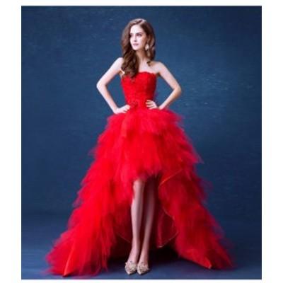 お得 レッドロースレース ウェディングドレス パーティドレス チュールスカート ビスチェ  トレーン 赤 結婚式 二次会 発表会 撮影 H043