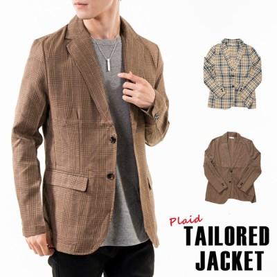 MOSTSHOP テーラードジャケット メンズ タータンチェック グレンチェック ノッチドラペル シングル タイト 細身 長袖 ジャケット コート ブラウン LL メンズ