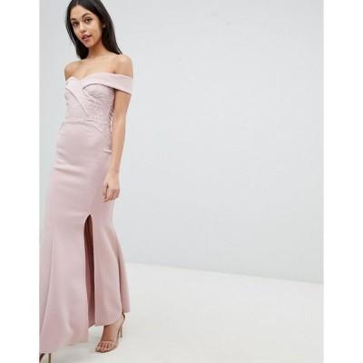 リプシー レディース ワンピース トップス Lipsy Fishtail Maxi Dress With Sequin Lace Trim Nude